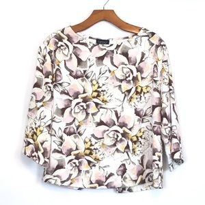 🌞TopShop Floral Print Open Back 3/4Sleeves Blouse